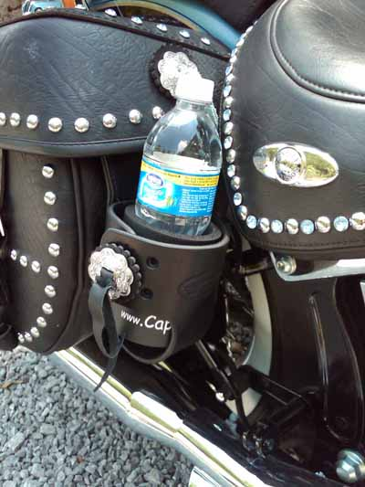 motorcycle cup holder for soft or leather bags