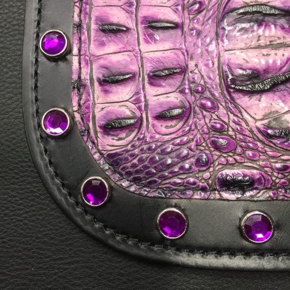 Harley heat shield with purple alligator embossed leather and crystals