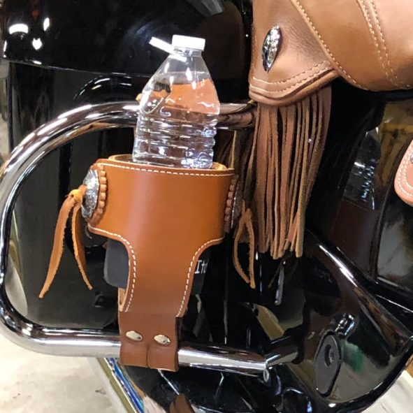 Indian cup holder for saddlebag guards