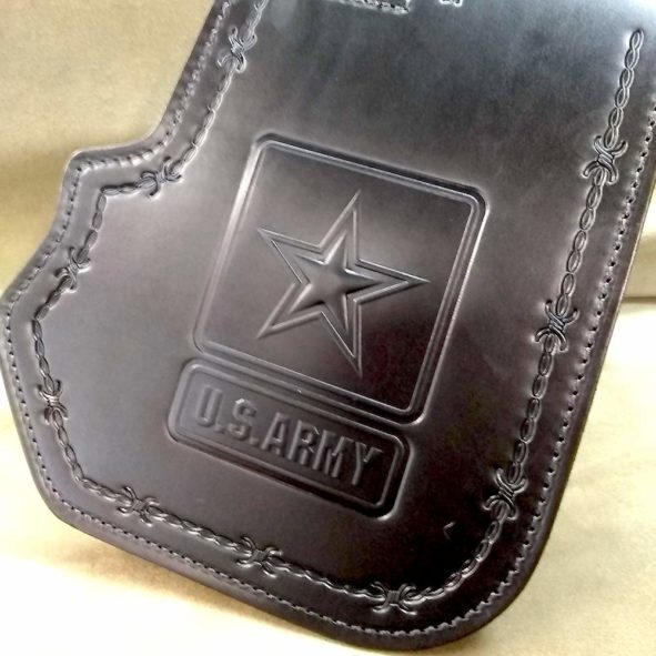 Harley-Davidson heat shield with Army emblem embossing and barbwire tooling from Captain Itch