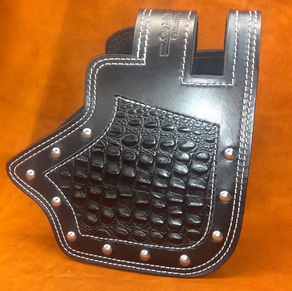 Indian heat shield with black alligator embossed overlay from Captain Itch