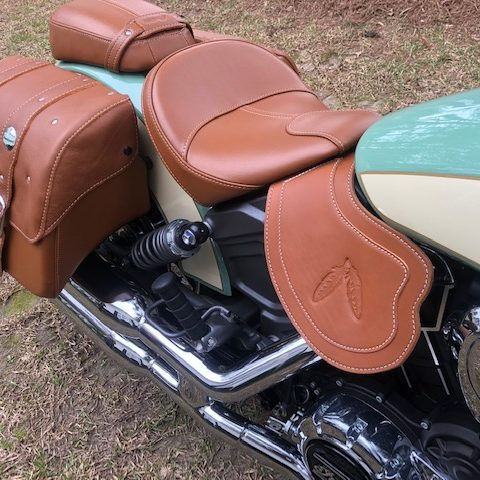 Indian Scout heat shield tan double ply with feather embossing