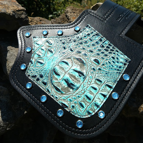 Indian heat shield with turquoise alligator embossed leather and turquoise crystals