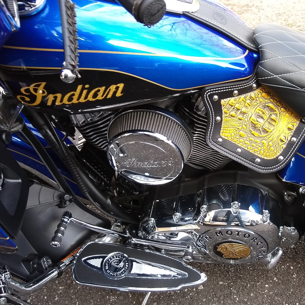 Indian heat shield with yellow alligator embossed leather 3
