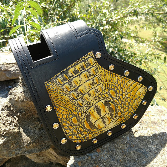 Indian heat shield with yellow alligator embossed leather