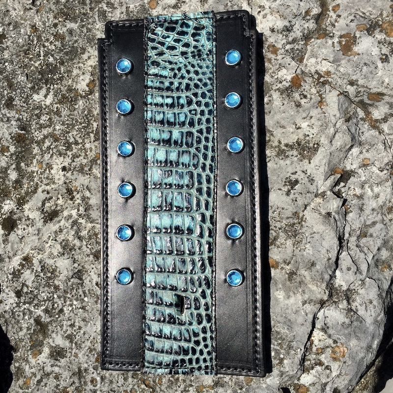 Harley-Davidson Softail tank bib with alligator embossed leather