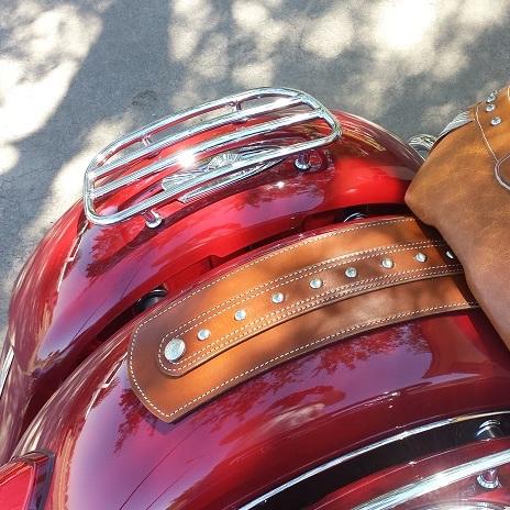 Indian tan fender bib with studs