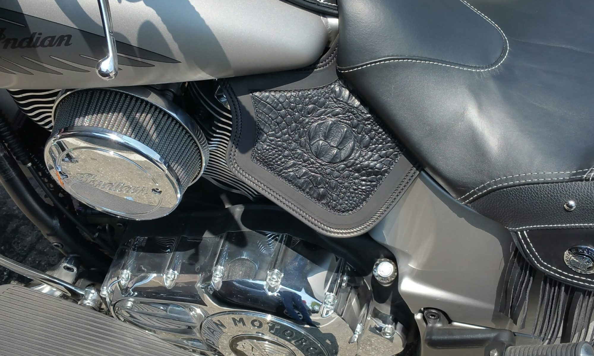 Indian heat shield with black alligator embossed leather