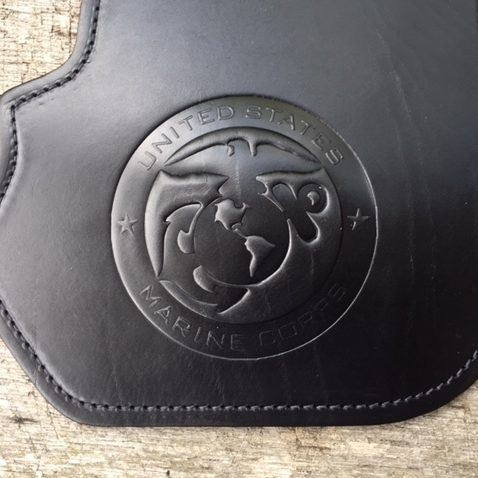 Harley heat shield with US Marine Corps embossing