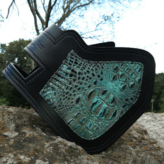 Indian heat shield with turquoise alligator embossed leather