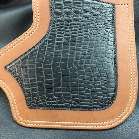 tan Indian heat shield with alligator embossed leather