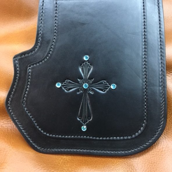 Harley heat shield double ply with cross embossing and crystals