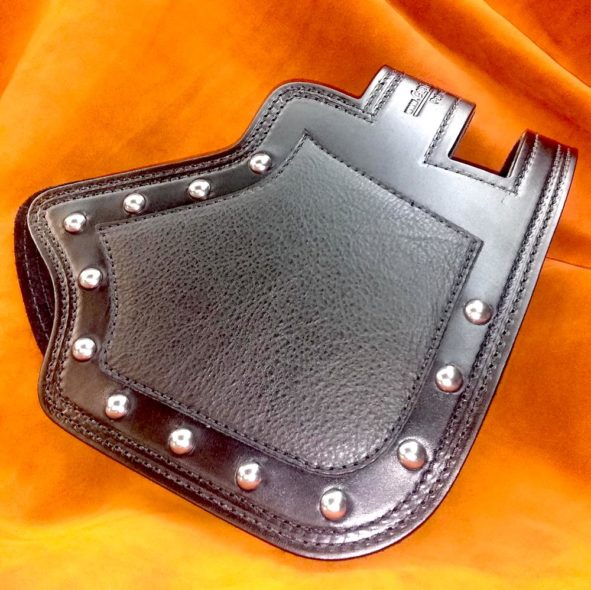 Indian heat shield with black chap leather overlay from Captain Itch