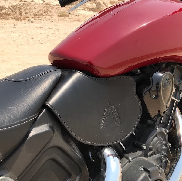Indian Scout heat shield with feather embossing