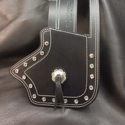 Indian motorcycle heat deflector, double ply with clear crystals and Concho