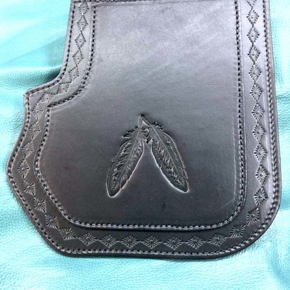 Harley heat guard double ply with feathers and tooled border copy