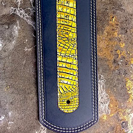 Indian fender bib with yellow alligator embossed leather overlay