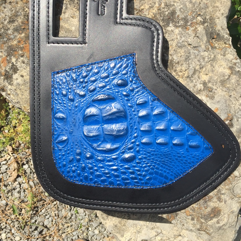 Indian heat shield with blue alligator embossed leather