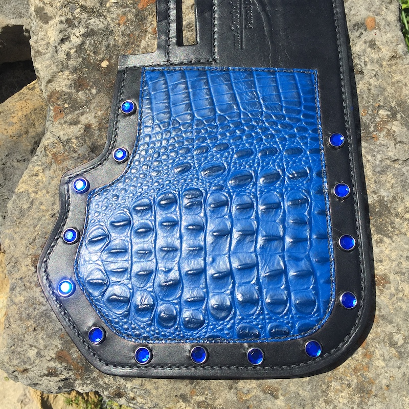 Harley-Davidson heat shield with blue alligator embossed leather