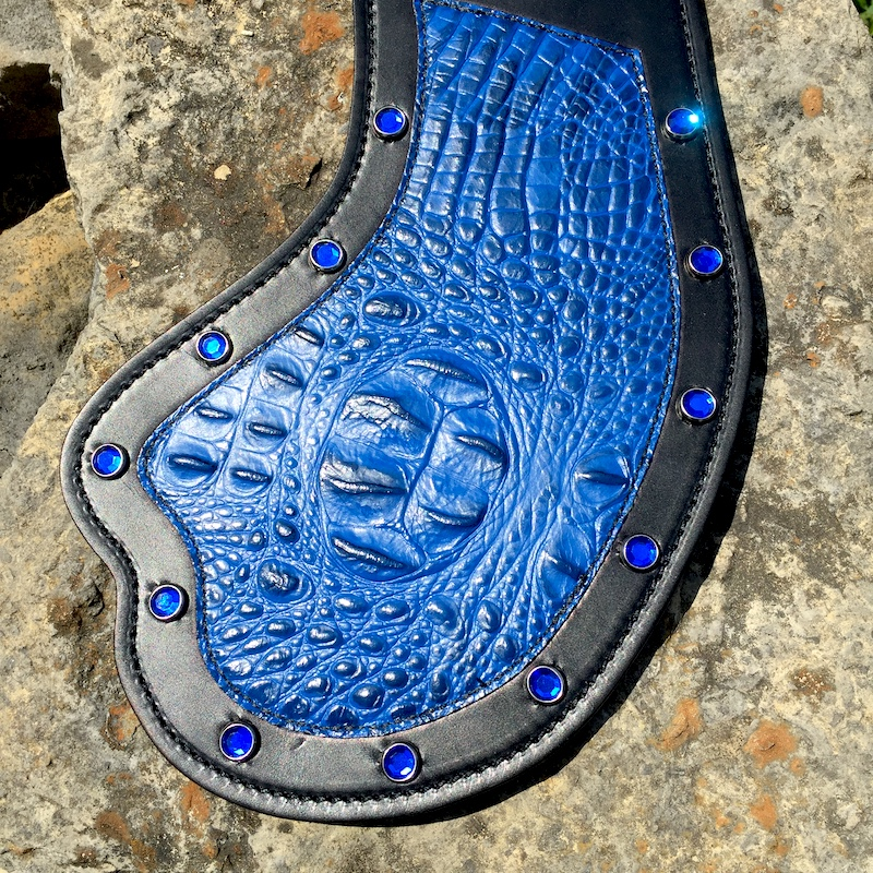 Indian Scout heat shield with blue alligator embossed leather