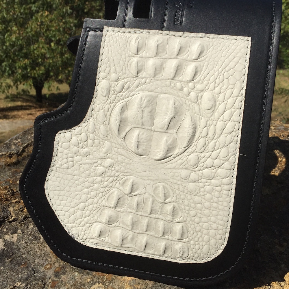 Harley-Davidson heat shield with cream alligator embossed overlay from Captain Itch