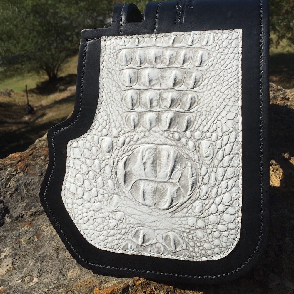 Harley-Davidson heat shield with antique white alligator embossed overlay from Captain Itch
