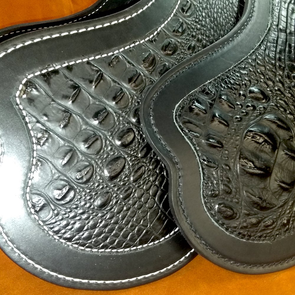 Indian Scout leather heat shield from Captain Itch motorcycle leather accessories