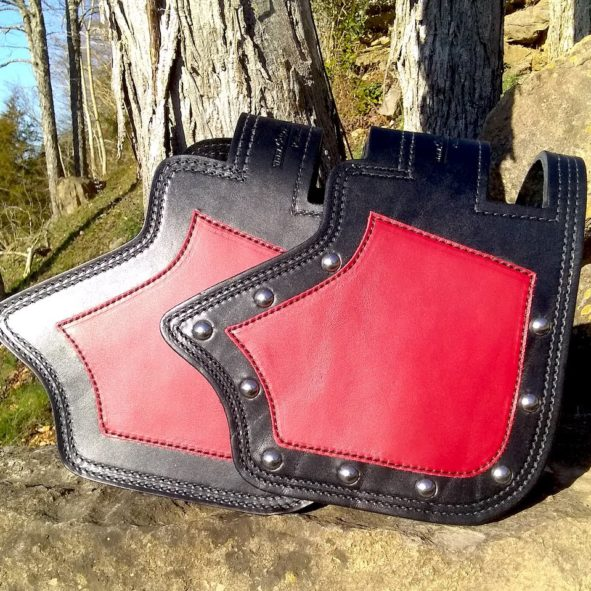 Indian heat shield with red leather overlay from Captain Itch