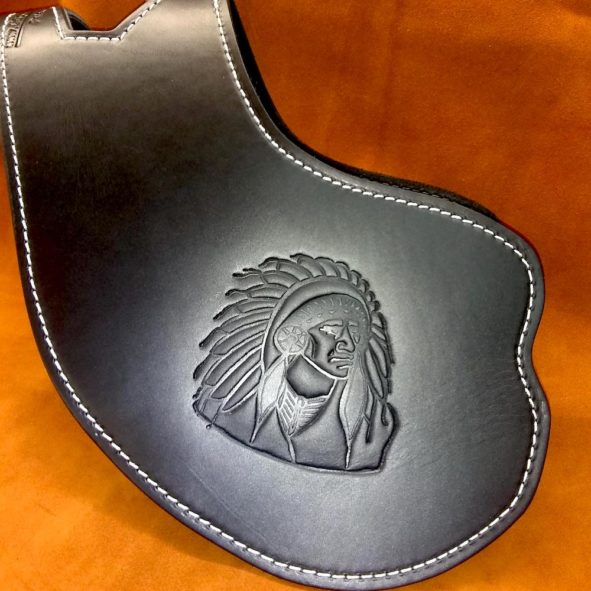 Indian Scout heat shield with Chief embossing from Captain Itch