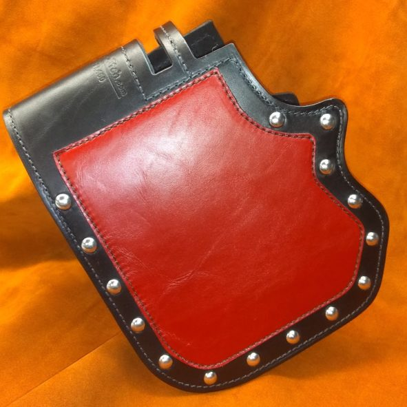 Harley-Davidson heat shield with red chap leather overlay