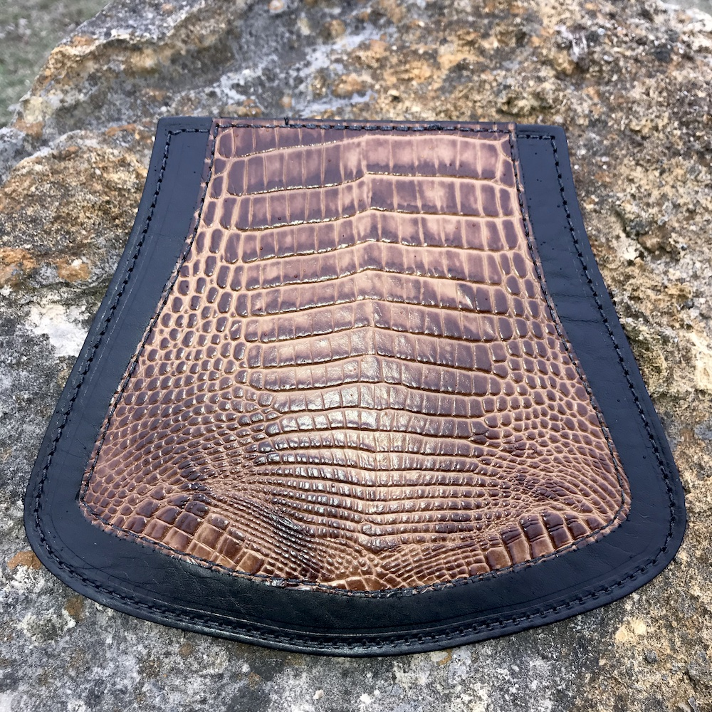 Harley-Davidson mud flap with alligator embossed leather