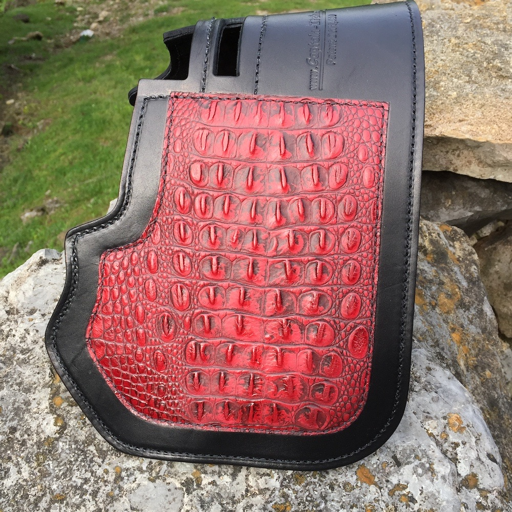 Harley-Davidson heat deflector with Burgundy alligator embossed leather