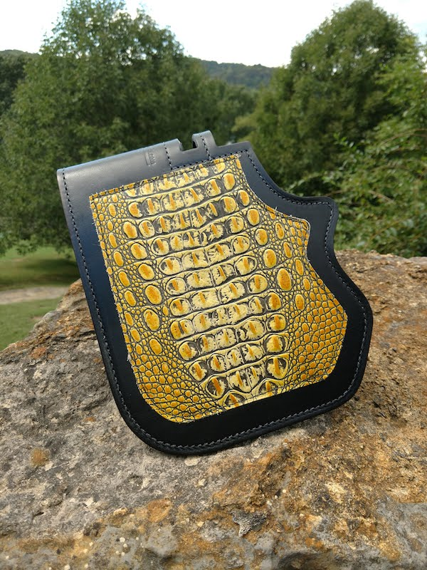 Harley heat shield with yellow alligator embossed leather