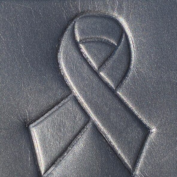 motorcycle heat shield with cancer ribbon