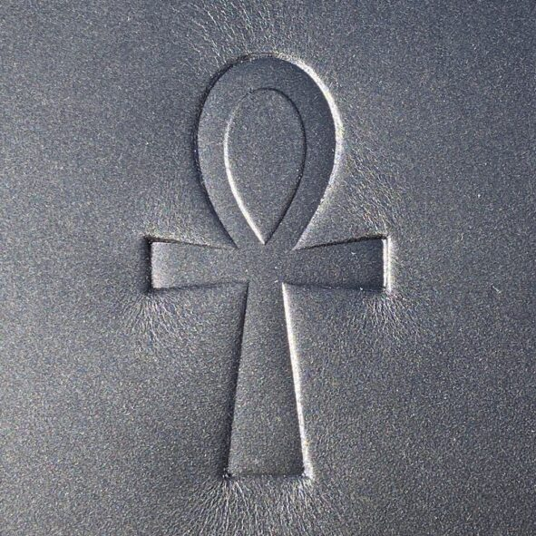 motorcycle heat shield with Ankh sign