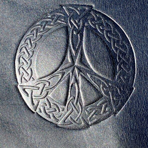 Celtic Peace Sign embossing on Harley-Davidson leather heat shield