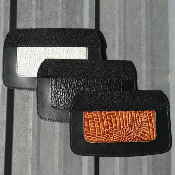 trike mud flaps with alligator embossed leather from Captain Itch