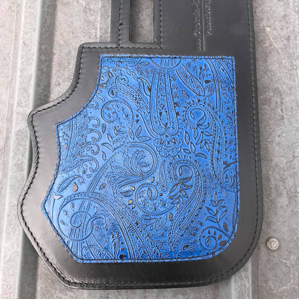 Harley Davidson heat shield with blue Leather and Lace overlay from Captain Itch