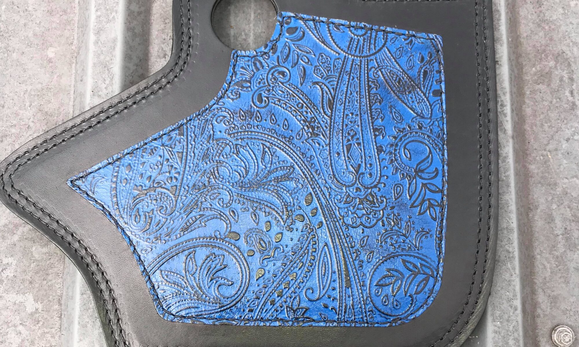 Indian heat shield with blue Leather and Lace overlay from Captain Itch